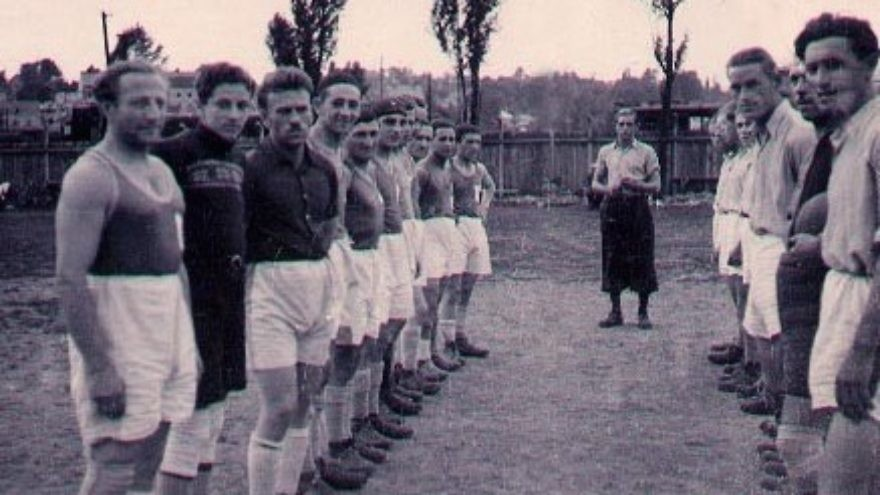 Click photo to download. Caption: Jill Klein's father, Gene, is pictured here second from left with his soccer teammates in a displaced person's camp in Austria, wearing a sweater as his goalkeeper's jersey. Credit: Provided photo.