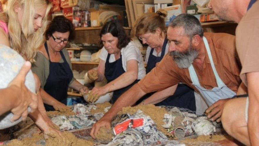 Click photo to download. Caption: Teachers from the Gideon Hausner Jewish Day School in Palo Alto, Calif., and the HaChita school in  Zichron Yaakov, Israel, collaborate on an art project at HaChita. The two schools, in a study abroad twinning program, have exchanged students and teachers between Israel and the U.S. for joint training and hospitality experiences. The Gideon Hausner school was part of  BASIS, a four-year Israel education initiative piloted in the Bay Area which just launched a new educational website. Credit: Courtesy Gideon Hausner Jewish Day School.