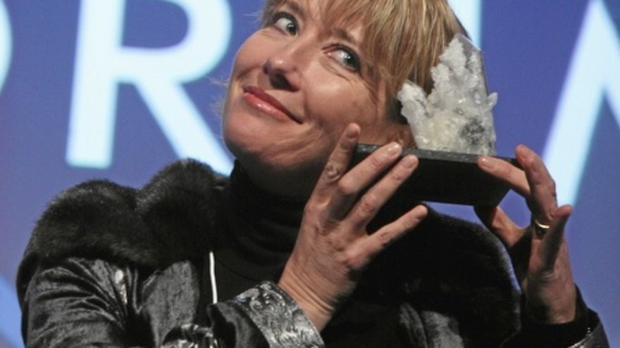 "Click photo to download. Caption: Actress Emma Thompson presents the award she was given during the ""Presentation of the Crystal Award"" at the annual meeting of the World Economic Forum in Davos, Switzerland, in 2008. Credit: World Economic Forum."