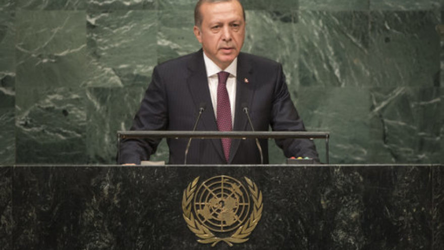 "Turkish President Recep Tayyip Erdogan (pictured) alleged that the fact that Israeli flags were waved during celebrations for the ""yes"" vote for Kurdish independence proved Israel's Mossad intelligence agency was involved. Credit: U.N. Photo/Cia Pak."