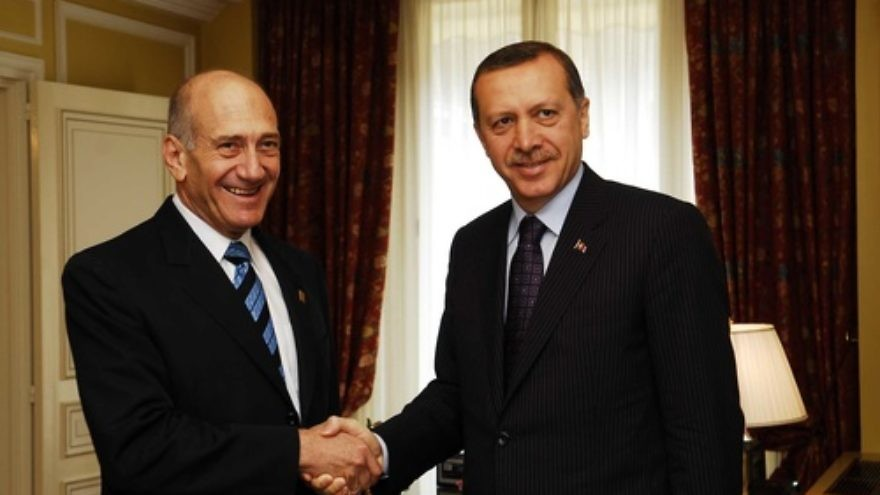 Click photo to download. Caption: Israeli Prime Minister Ehud Olmert meets with Turkish Prime Minister Recep Tayyip Erdogan at the Elysee Palace in Paris during a summit aimed at breathing new life into the existing Euro-Mediterranean region on July 13, 2008. Turkey-Israel relations have been strained since the 2010 Gaza flotilla incident, for which Israeli Prime Minister Benjamin Netanyahu apologized to Erdogan in a telephone call last Friday. Credit: Avi Ohayon/GPO/Flash90.