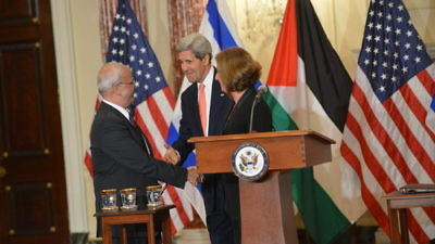 From left to right, Palestinian Authority chief negotiator Saeb Erekat, U.S. Secretary of State John Kerry and Israeli Justice Minister Tzipi Livni during the most recent round of failed Israeli-Palestinian peace talks on July 30, 2013, in Washington, D.C. Credit: U.S. State Department.