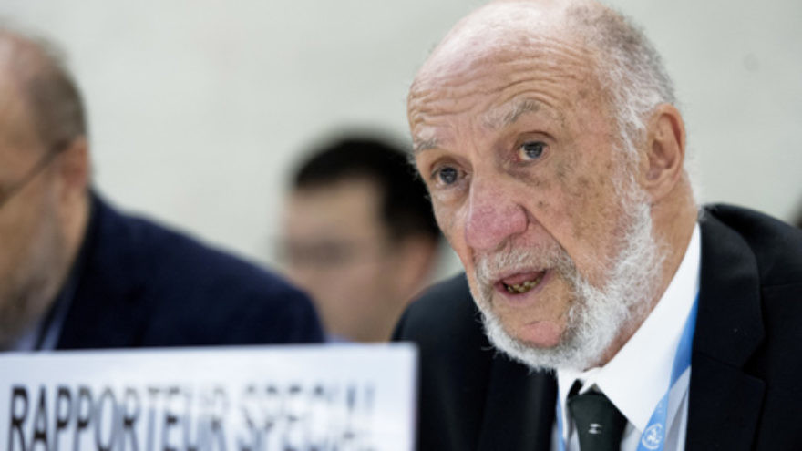 Click photo to download. Caption: The U.N. Human Rights Council holds an interactive dialogue with Richard Falk (pictured), its special rapporteur on Palestinian human rights, on June 10, 2013 in Geneva. Credit: UN Photo/Jean-Marc Ferré.