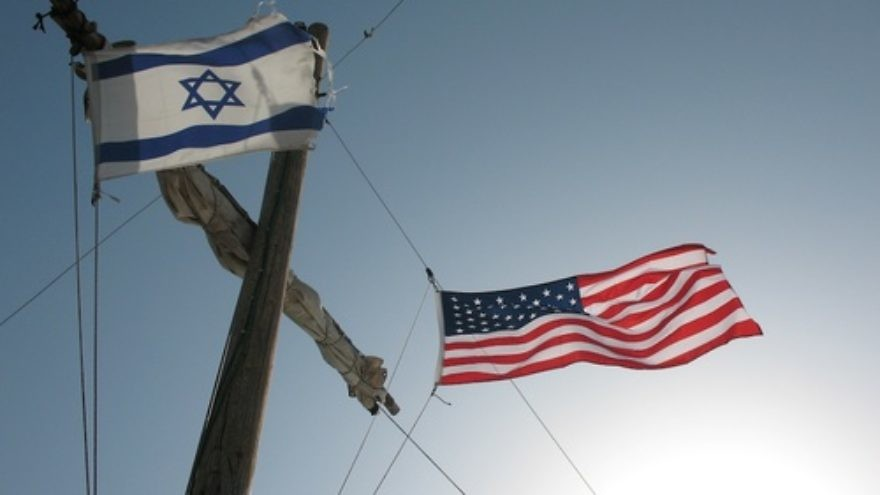 Israeli and American flags. Credit: James Emery.