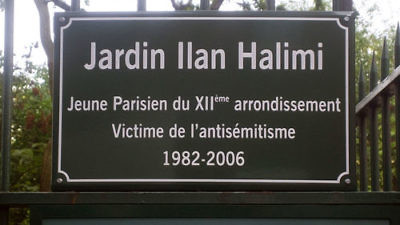 Click photo to download. Caption: A sign in Paris in memory of Ilan Halimi, a French Jew who was kidnapped and murdered in 2006. Credit: Poulpy via Wikimedia Commons.