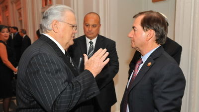 Click photo to download. Caption: CUFI founder Pastor John Hagee (left) with U.S. Rep. Ed Royce (R-CA), chairman of the House Committee on Foreign Affairs, at a dinner in Hagee's honor on Nov. 7 in New York. Credit: CUFI.