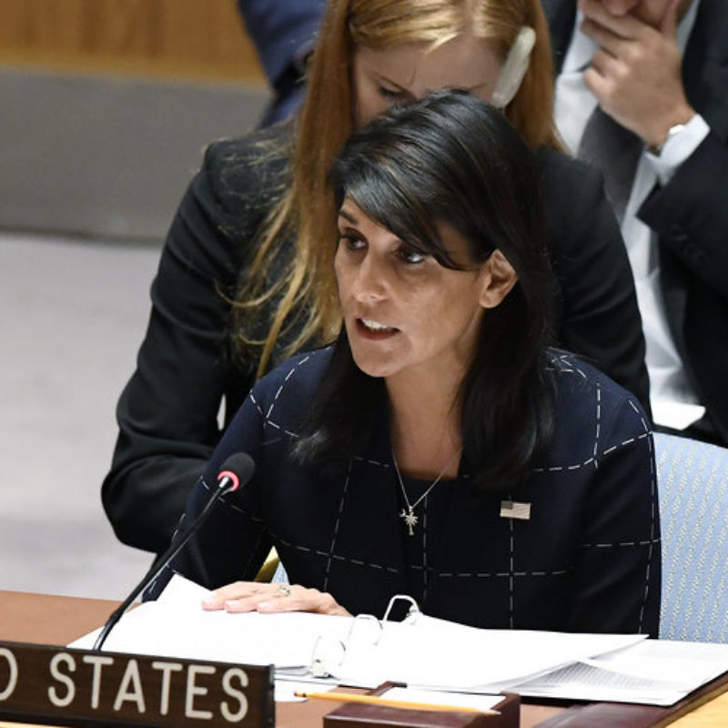 U.S. Ambassador to the United Nations Nikki Haley addresses a U.N. Security Council meeting on the situation in Syria, Sept. 27, 2017. Credit: U.N. Photo/Evan Schneider.