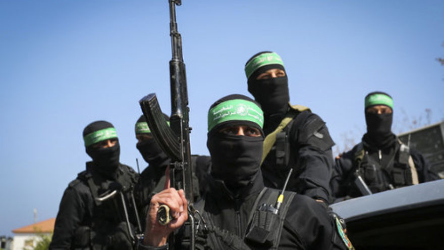 Hamas terrorists in Gaza City, March, 25, 2017. Credit: Abed Rahim Khatib/Flash90.
