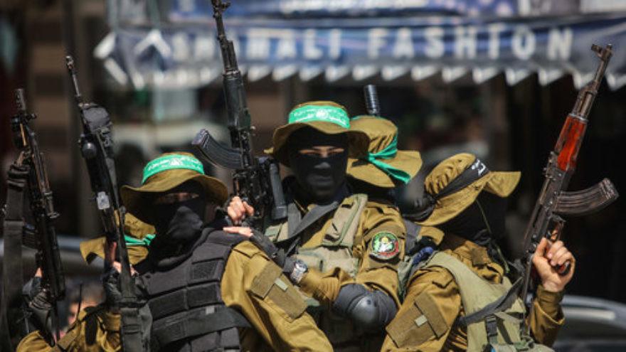 Hamas terrorists in Gaza City, March, 25, 2017. Credit: Abed Rahim Khatib/Flash90.