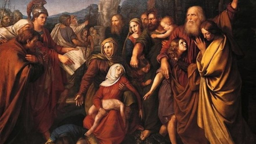"Click photo to download. Caption: The painting ""Maccabees,"" by Wojciech Stattler (1800–1875). Credit: Wojciech Stattler via Wikimedia Commons"