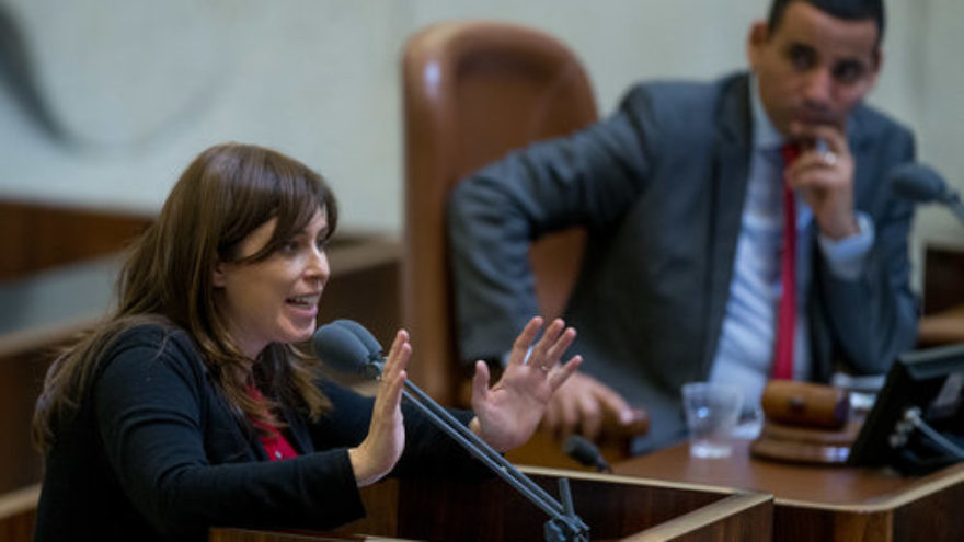 Israeli Deputy Foreign Minister Tzipi Hotovely (left) speaks at the Knesset on March 28, 2016. Credit: Yonatan Sindel/Flash90.