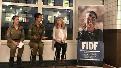 From left to right, Staff Sgt. Maya, Sgt. Noam and Brigadier General (Res.) Gila Klifi-Amir at a Friends of the Israel Defense Forces program April 3 in New York City. Credit: Shiryn Ghermezian.