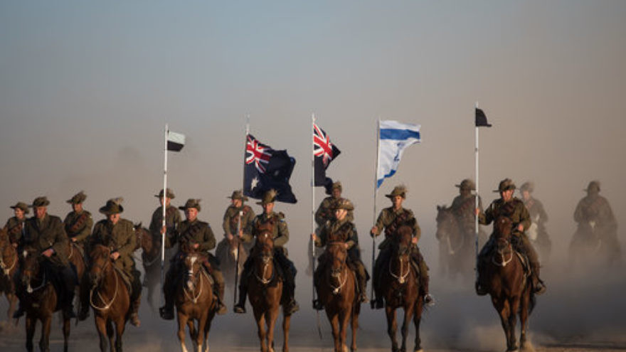 On Oct. 31, horse riders from Australia and New Zealand participate in a World War I reenactment at Israel's Be'er Sheva River National Park, as part of events commemorating the 100th anniversary of the liberation of Be'er Sheva by the Australian and New Zealand Army Corps. Credit: Hadas Parush/Flash90.
