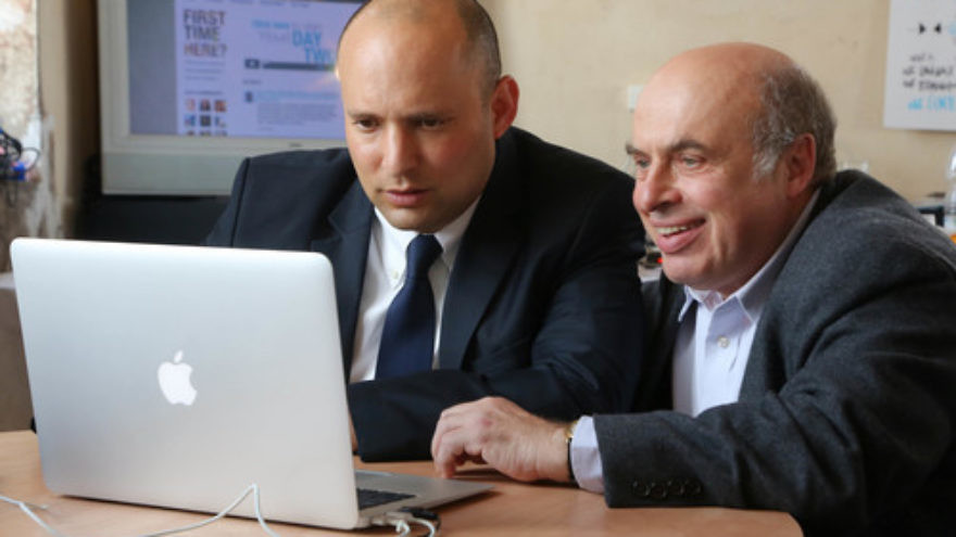 Click photo to download. Caption: From Jerusalem, Israeli Minister of Diaspora Affairs Naftali Bennett (left) and Chairman of the Executive for The Jewish Agency for Israel Natan Sharansky join world Jewry's first online jam session on Feb. 18. Credit: Sasson Tiram.