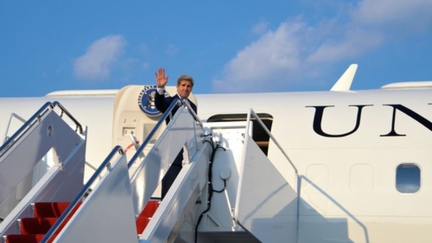 U.S. Secretary of State John Kerry  boards his plane at Andrews Air Force Base for a flight to Amman on July 15, 2013. On that trip to Jordan, Kerry said Arab ministers told him that the core issue of instability in the region and other parts of the world is the Palestinian-Israeli conflict. Credit: U.S. State Department.