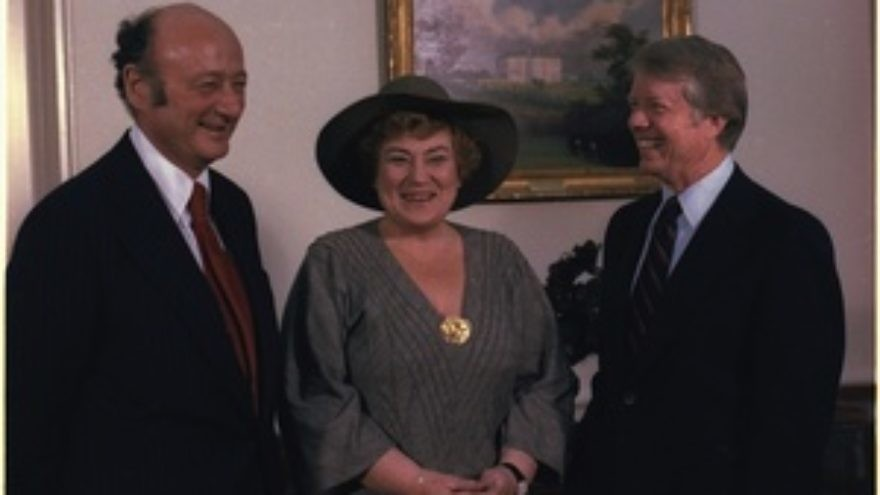 LandscClick photo to download. Caption: From left to right, New York Mayor Ed Koch, Congresswoman Bella Abzug (D-NY) and President Jimmy Carter during a meeting in 1978. Credit: White House.ape