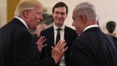 Israeli Prime Minister Benjamin Netanyahu and U.S. President Donald Trump with senior White House adviser Jared Kushner at the start of a meeting in Jerusalem on May 22, 2017. Credit: Kobi Gideon/GPO.