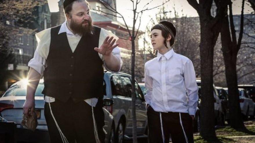"Hasidic father Menashe and his son Rieven in the film ""Menashe."" Credit: Federica Valabrega."