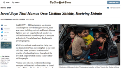 """Click photo to download. Caption: The webpage of a July 23 New York Times article that columnist Debra Feuer calls an """"erroneous and shameful defense of Hamas,"""" regarding the Palestinian terror group's use of human shields. Credit: Screenshot of New York Times website."""