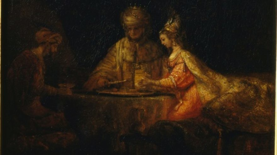 Click photo to download. Caption: A painting by Rembrandt of King Ahasuerus and Haman at the Feast of Esther. Credit: Pushkin Museum via Wikimedia Commons.