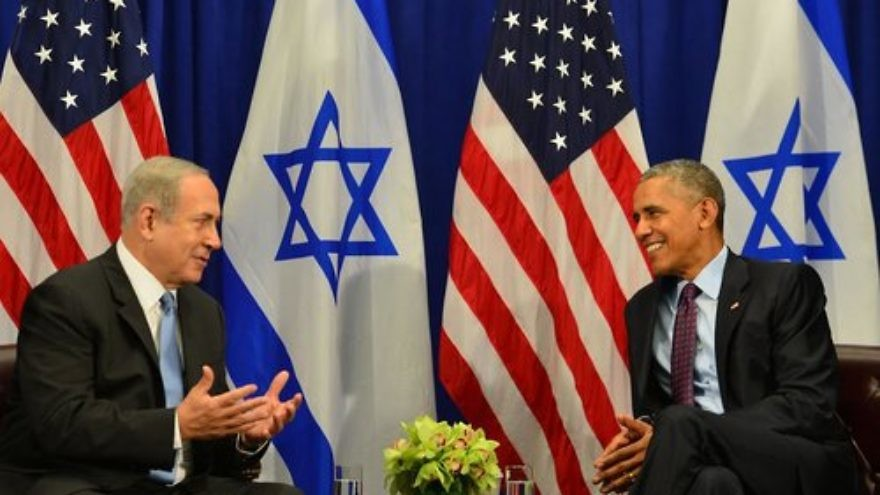 Israel's Prime Minister Benjamin Netanyahu and U.S. President Barak Obama meet in New York City just days after signing the U.S.-Israel aid deal. Credit: Getty Images.