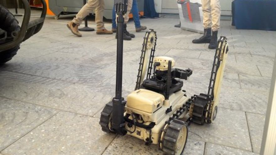 The Israeli company Roboteam's MTGR—the world's lightest tactical ground robot—is pictured at the recent Future Tech conference in Herzliya. Credit: Yaakov Lappin.