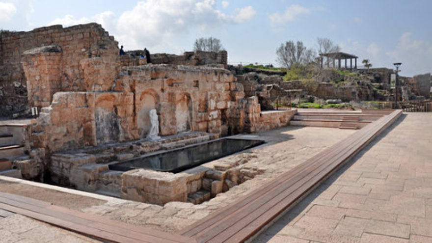 Caesarea National Park's newly restored Roman fountain, which was originally built in the corner of the platform of King Herod's former temple in the 1st century A.D. Credit: Israel Antiquities Authority.