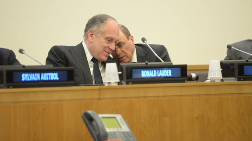 Ronald S. Lauder (left), president of the World Jewish Congress, and Sivan Shalom, Israeli Minister of National Infrastructure, Energy and Water, and Minister of Regional Cooperation, at a Nov. 21 conference at the United Nations on the plight of Jewish refugees from Arab countries. Credit: World Jewish Congress.