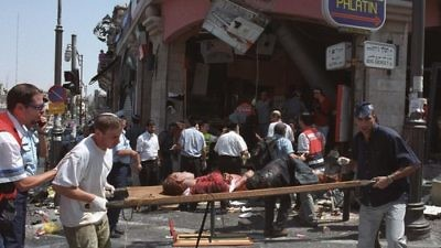 The aftermath of the suicide bombing at the Sbarro pizzeria in Jerusalem on Aug. 9, 2001, that killed 15 people, including two Americans, and wounded around 130 others. Photo by Flash90.