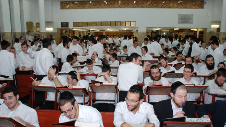 Click photo to download. Caption: Torah study like what is pictured in this scene at the Kol Torah yeshiva in Jerusalem is typical of the first night of Shavuot. Credit: Matanya via Wikimedia Commons.