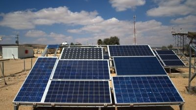 Click photo to download. Caption: A photovoltaic array at the National Solar Energy Center, Jacob Blaustein Institutes for Desert Research, in the Negev Desert of Israel. Credit: David Shankbone.