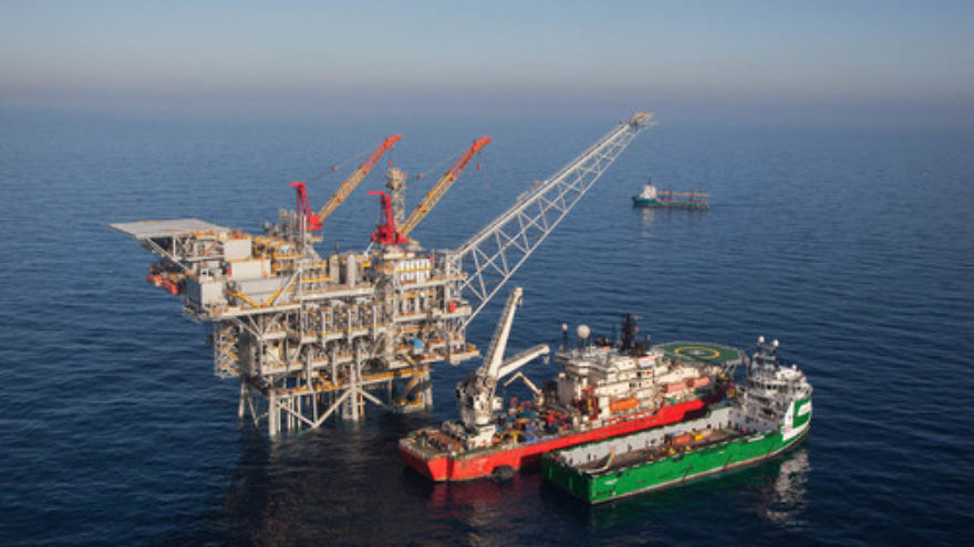 Click photo to download. Caption: An aeriel view of the Israeli gas rig Tamar, situated about 80 km off the Israeli northern coast. Tamar was the first large-scale hydrocarbon resource discovered in international waters and claimed by Israel. After more than four years of drilling, the flow of natural gas from the Tamar gas field has begun. Credit: Albatross Aerial photography/Nobel Energy/FLASH90.