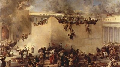 "The destruction of the Temple of Jerusalem, oil on canvas, by Francesco Hayez. Both the first and second iterations of the ""Beit HaMikdash"" were razed on Tisha B'Av, hundreds of years apart. Credit: Francesco Hayez."