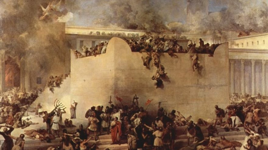 "Click photo to download. Caption: The destruction of the Temple of Jerusalem, oil on canvas, by Francesco Hayez. Both the first and second iterations of the ""Beit HaMikdash"" were razed on Tisha B'Av, hundreds of years apart. Credit: Francesco Hayez."