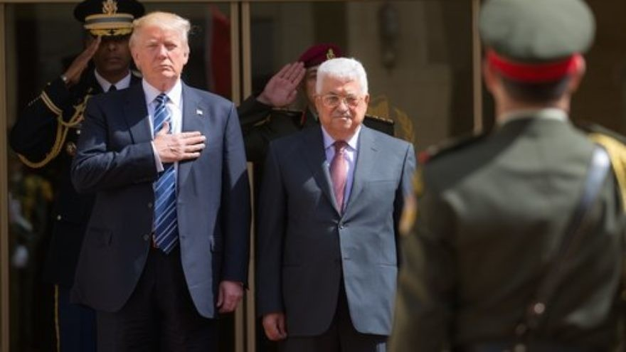 U.S. President Donald Trump with Palestinian Authority President Mahmoud Abbas in Bethlehem, May 23, 2017. Credit: Shealah Craighead/White House.