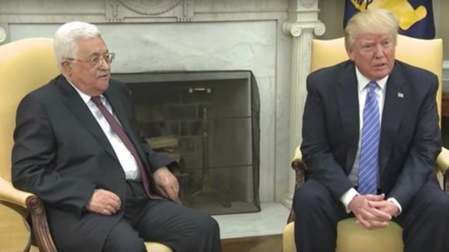 Palestinian Authority President Mahmoud Abbas (left) and President Donald Trump at the White House May 3. Credit: White House via YouTube.