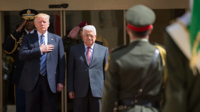 U.S. President Donald Trump (left) with Palestinian Authority leader Mahmoud Abbas (center) in Bethlehem on May 23, 2017. Credit: White House Photo by Shealah Craighead.