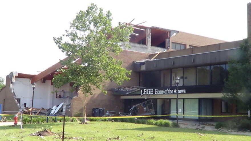 Click photo to download. Caption: An exterior wall was blown away and a portion of the roof was ripped off of the O'Brien Athletic Center (pictured) at Tornado-hit Ursuline College in Pepper Pike, Ohio, over the weekend. Credit: Cleveland Jewish News.