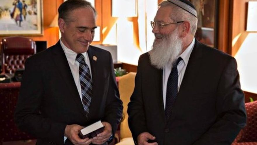 U.S. Secretary of Veterans Affairs David Shulkin (left) and Israeli Deputy Defense Minister Eli Ben-Dahan meet in March. Credit: Gene Russell Photography.