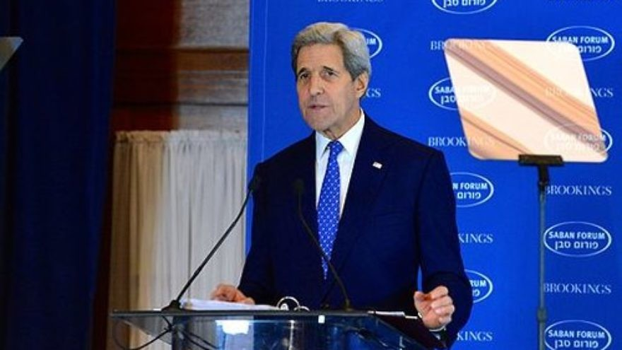 U.S. Secretary of State John Kerry speaking at the 2015 Saban Forum in Washington. Credit: Wiki Commons.