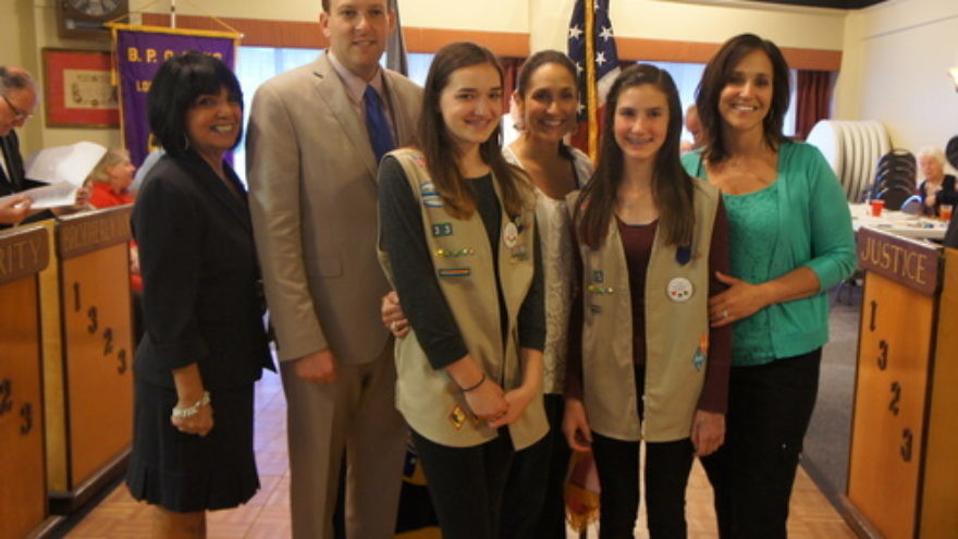 Click photo to download. Caption: Up-and-coming Jewish Republican Lee Zeldin (second from left) with Girl Scouts. Credit: Provided photo.