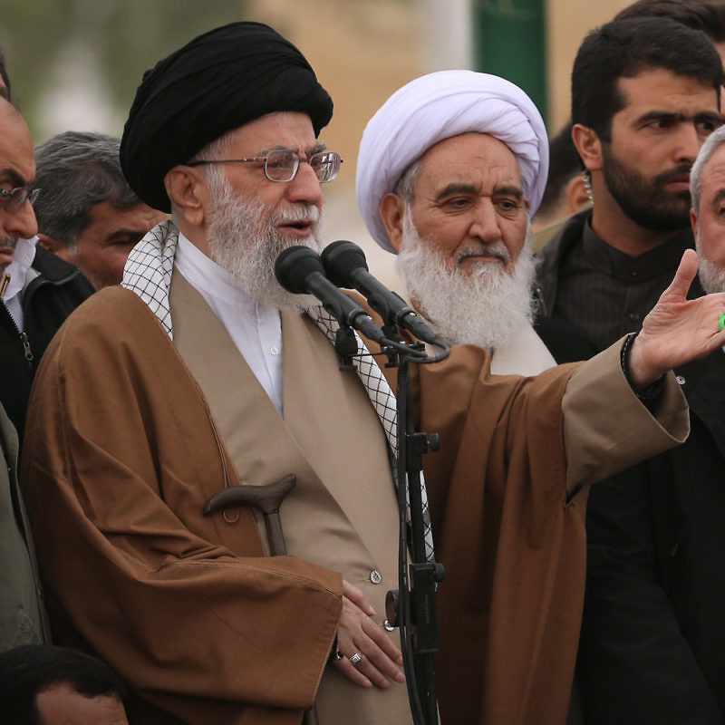 Iranian Supreme Leader Ayatollah Ali Khamenei speaks in Iran's Kermanshah Province in November 2017. Credit: Khamenei.ir via Wikimedia Commons.