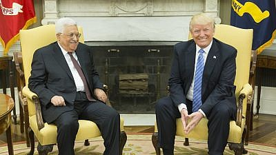 U.S. President Donald Trump (right) and Palestinian Authority President Mahmoud Abbas meet at the White House on May 3, 2017. Credit: White House/Shealah Craighead.