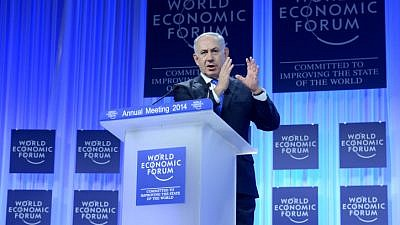 Israel's Prime Minister Benjamin Netanyahu speaks at the annual meeting of the World Economic Forum (WEF) in Davos January 23, 2014. Photo by Kobi Gideon/GPO/Flash 90.