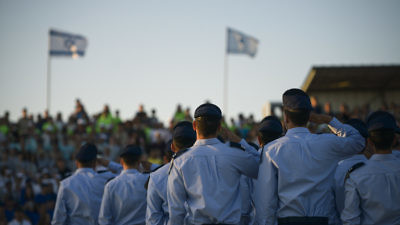 Israeli Air Force soldiers who completed the IAF's flight course are pictured during a graduation ceremony held at the Hatzerim Air Base in the Negev Desert on June 25, 2015. Credit: IDF Spokesperson's Unit/Flash90.