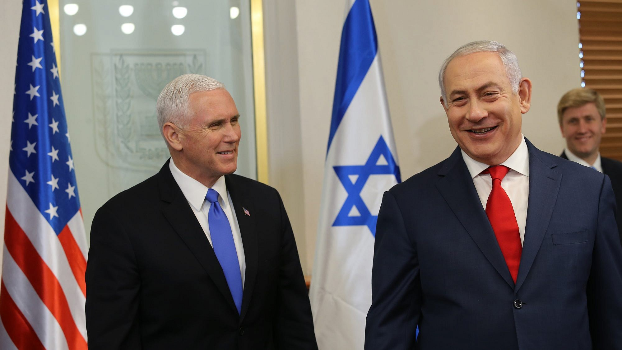 Vice President Mike Pence is welcomed by Israeli Prime Minister Benjamin Netanyahu at the Prime Minister's Office in Jerusalem on January 22, 2018. Credit: Alex Kolomoisky/POOL/Flash90.