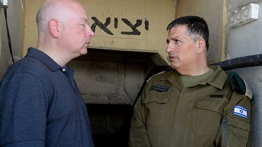 U.S. Special Representative for International Negotiations Jason Greenblatt (left) visits a Hamas terror tunnel discovered by the Israel Defense Forces near the Israel-Gaza border, August 2017. Credit: Jason D. Greenblatt via Twitter.