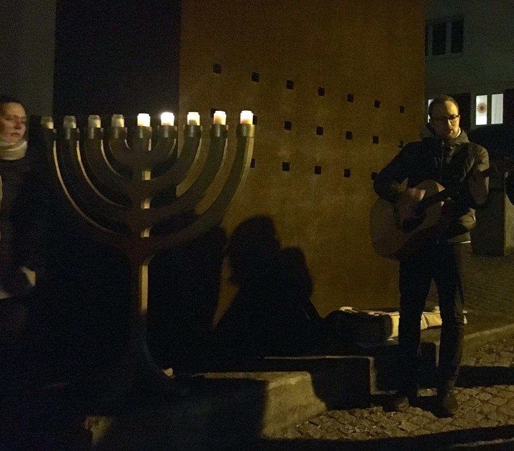 A Hanukkah candle-lighting ceremony in Tübingen. Credit: Orit Arfa.