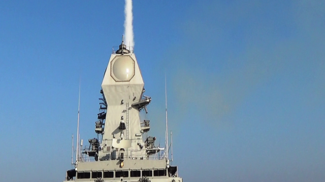 An INS Kolkata ship of the Indian Navy fires an Israeli-produced Barak 8 long-range surface-to-air missile on Dec. 30, 2015. Credit: Indian Navy via Wikimedia Commons