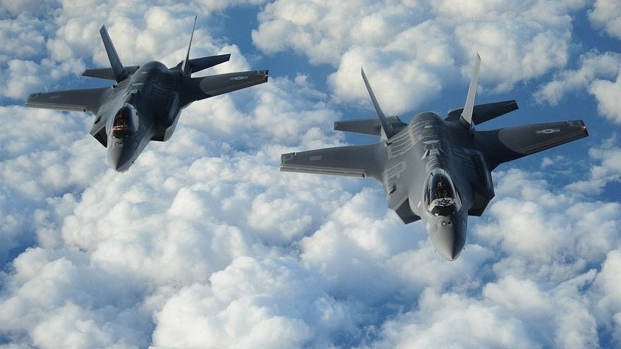 "File photo: Two Israeli F-35 ""Adir"" jets fly in formation. Credit: U.S. Air Force/1st Lt. Erik D. Anthony."